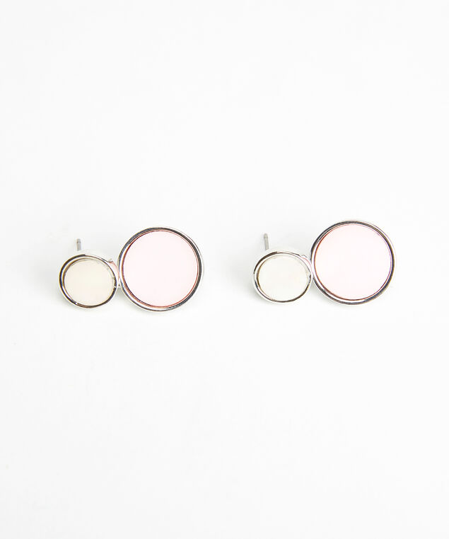 double circle earrings, Silver