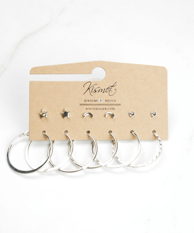 multi pack studs and hoops, Silver