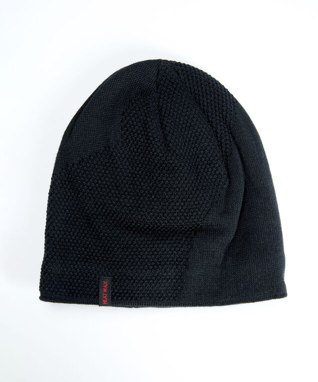 men's heat max beanie, Black