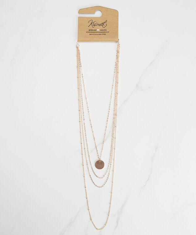 delicate multi row chain necklace, Rose, hi-res