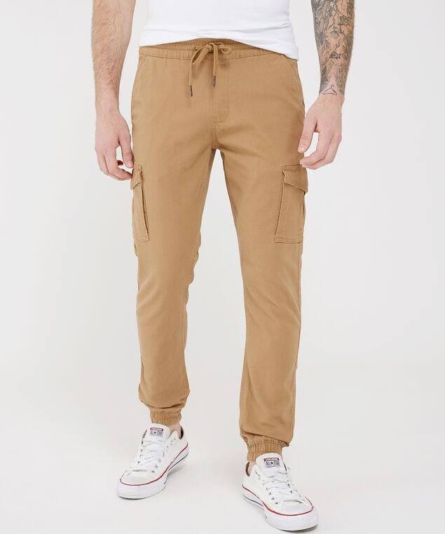 men's cargo jogger, DARK TAN, hi-res