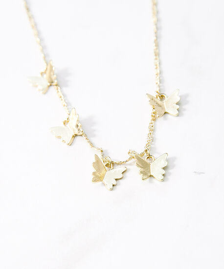 butterfly dangle necklace, Gold, hi-res