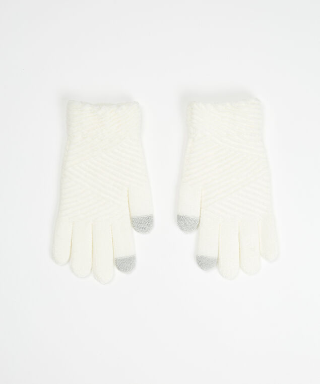brushed texting glove, Ivory