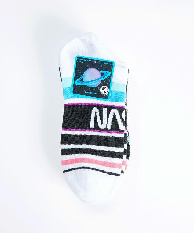 women's nasa ankle socks, White Black Print