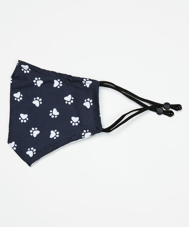 paw prints face mask, Black Pattern