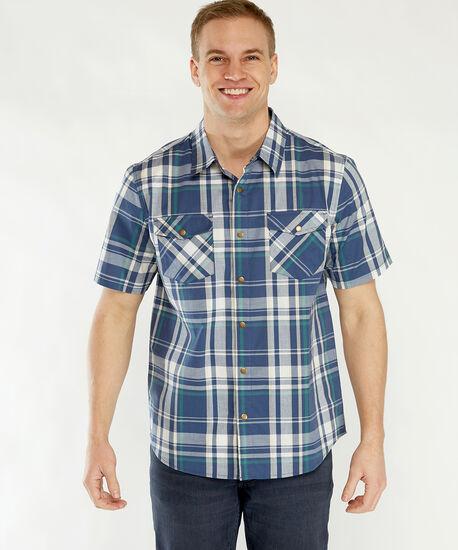plaid snap front shirt, Blue Plaid, hi-res