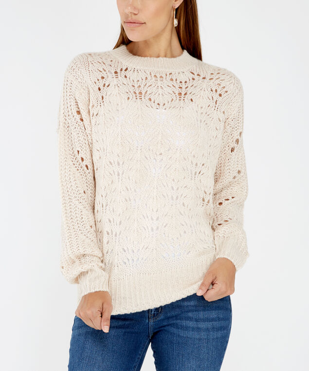 pointelle stitch sweater - wb, White, hi-res
