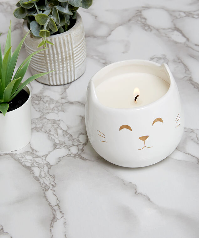 ceramic cat candle, White, hi-res