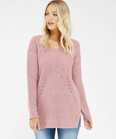 pointelle stitch sweater - wb, Rose, hi-res