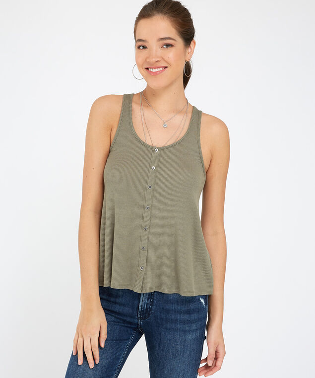 button down knit tank - wb, MEDIUM GREEN, hi-res