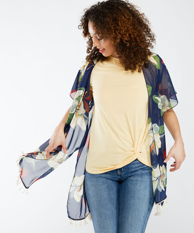 floral kimono with tassels, Navy