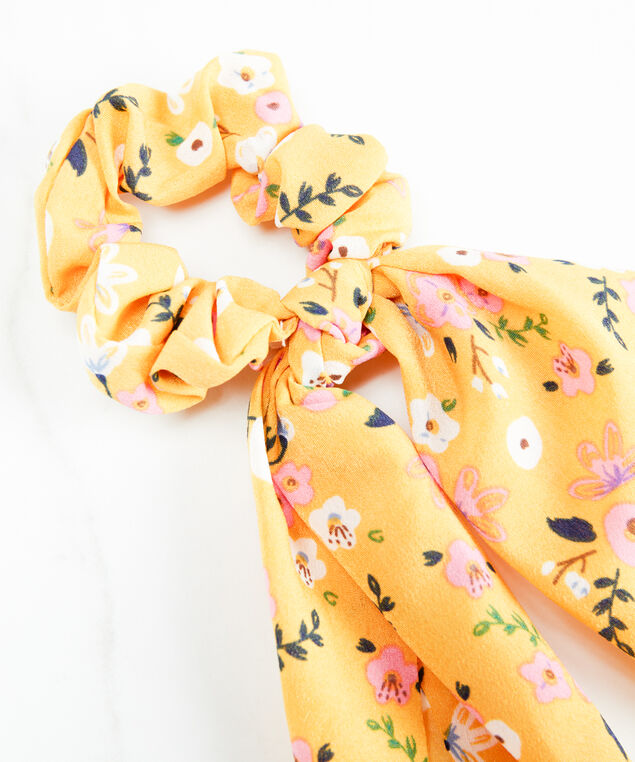 floral scrunchie with tail, Yellow Print