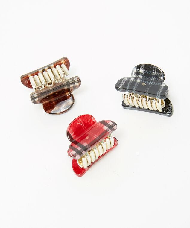 plaid clips 3 pack, PLAID, hi-res