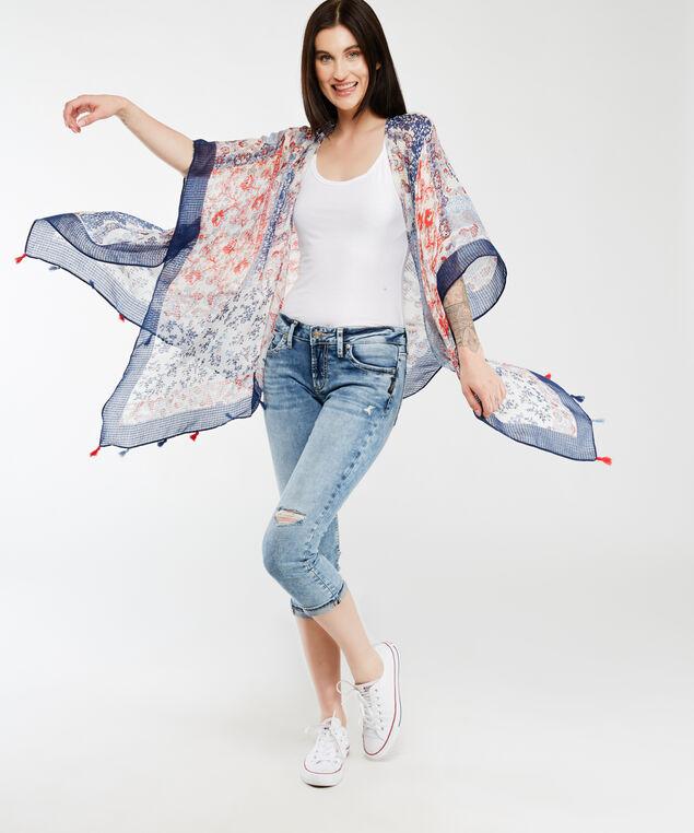 paisley print kimono, Blue Coral