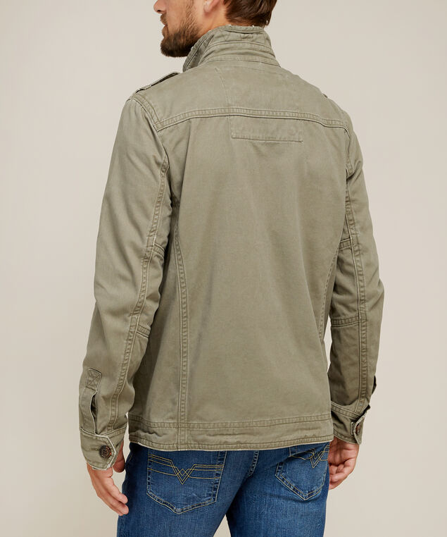military canvas jacket, OLIVE, hi-res