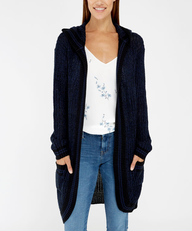 long hooded cardigan - wb, blue/black, hi-res