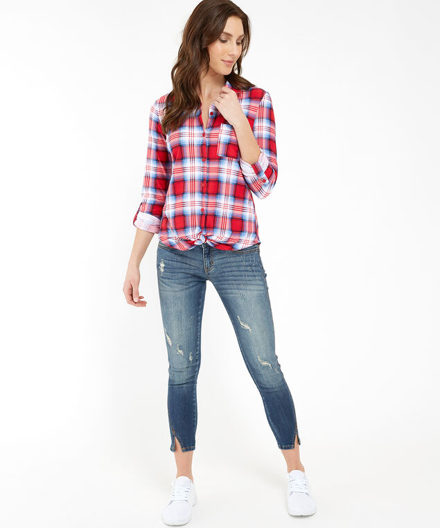 long sleeve button front knit shirt - wb, RED PLAID, hi-res