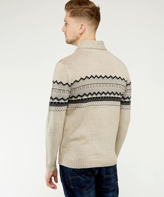 shawl collar fairisle sweater, Natural