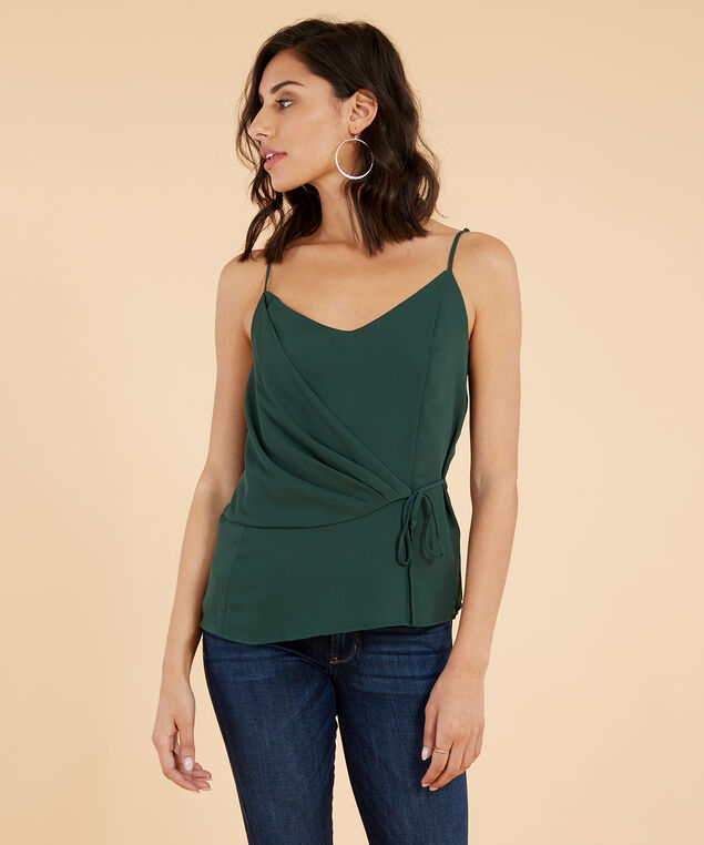 tie side woven cami - wb, OLIVE, hi-res