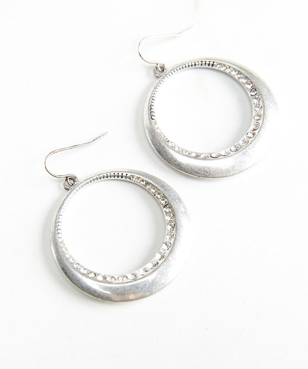 silver geo earrings, Silver