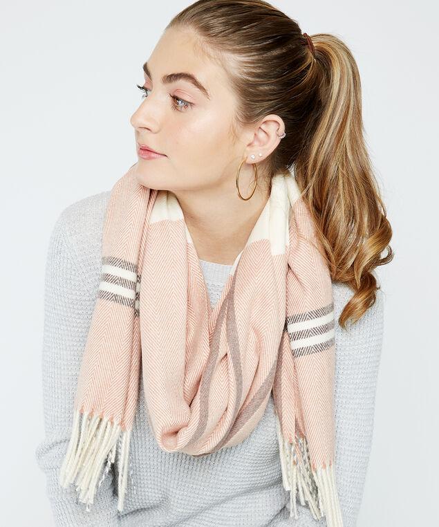 plaid scarf with tassels, Pink, hi-res