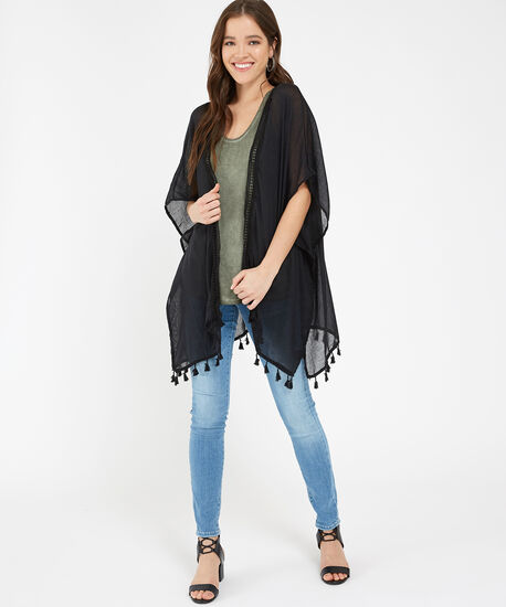 solid kimono with tassel, BLACK, hi-res