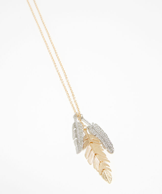 mixed tone feather necklace, GOLD, hi-res