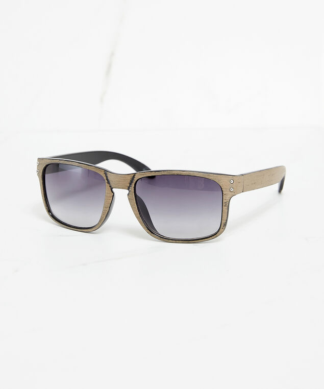 faux wood frame sunglasses, grey/brown, hi-res