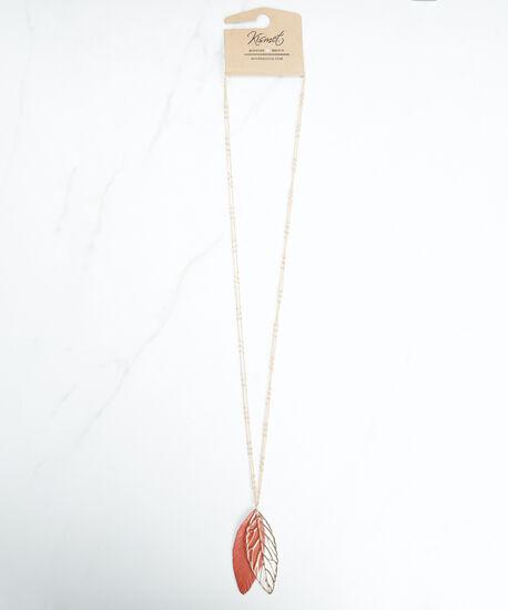 leaf pendant necklace, Gold, hi-res