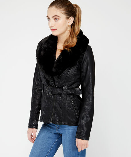 belted pu jacket, Black, hi-res