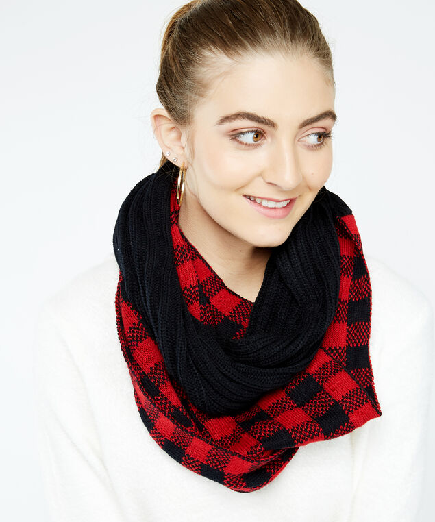 buffalo plaid infinity scarf, Red