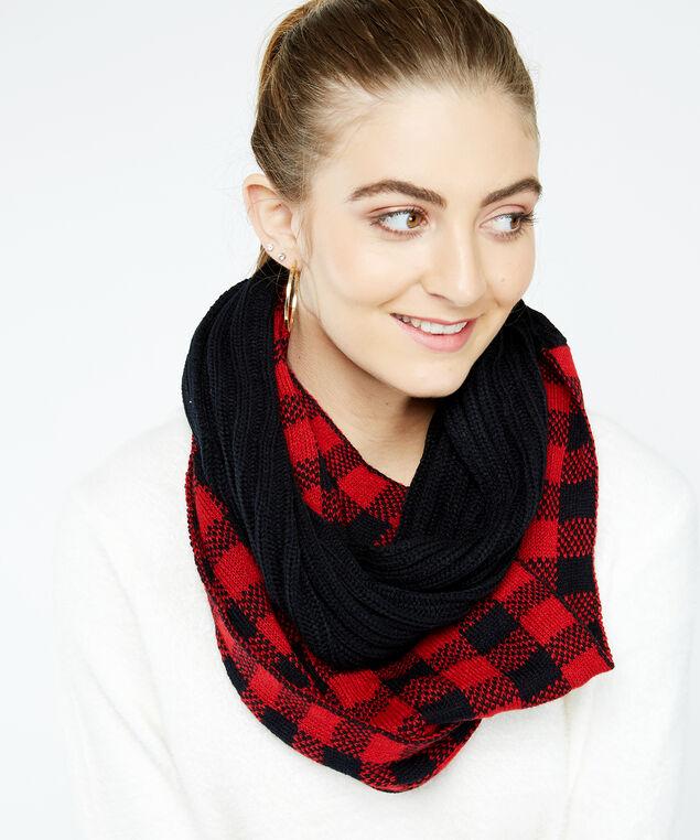 buffalo plaid infinity scarf, Red, hi-res