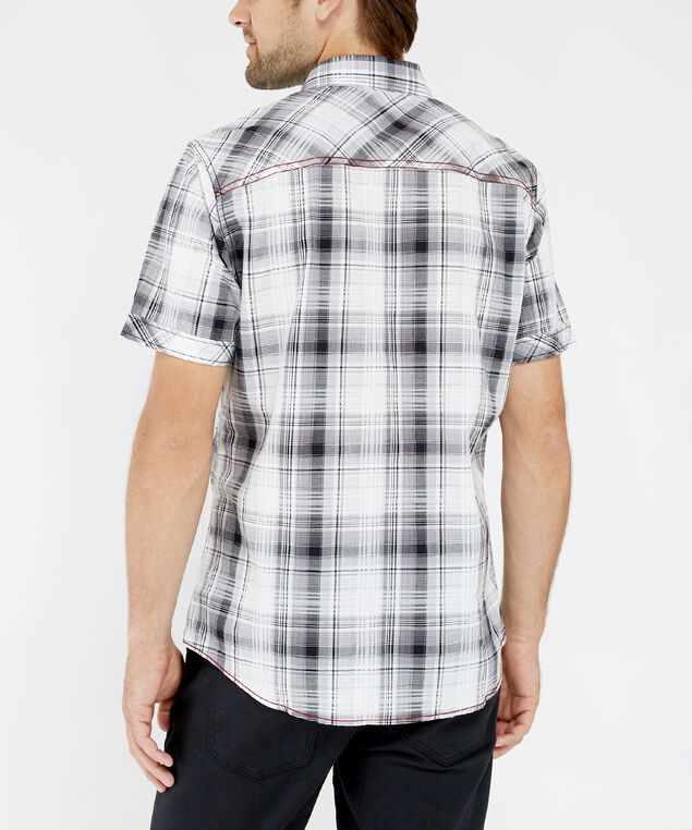 plaid short sleeve shirt - wb, BLACK, hi-res