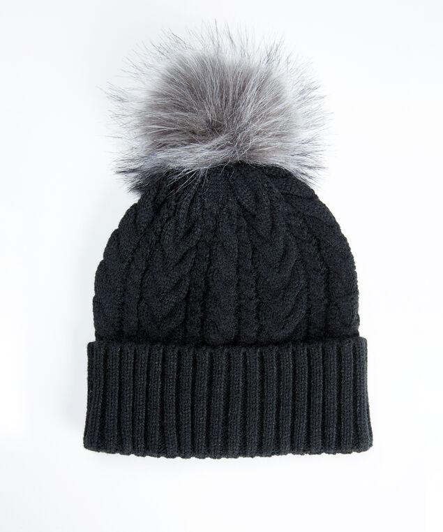 cable knit toque, Black