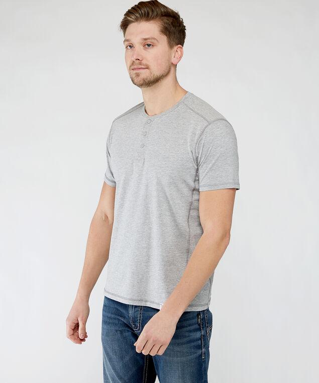 short sleeve henley tee, Grey