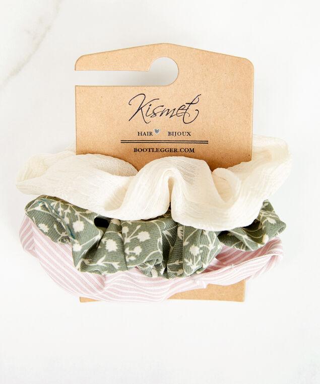 3 pack hair scrunchies, Green Pa