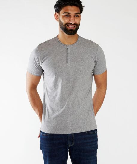 short sleeve henley tee, Medium Grey, hi-res