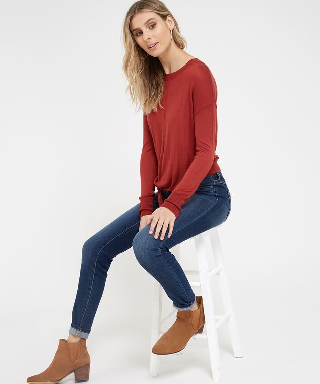 popover sweater with tie front - wb, SOFT GINGER, hi-res