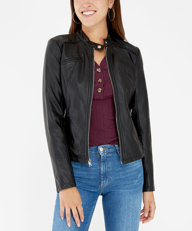 faux leather jacket - wb, BLACK, hi-res