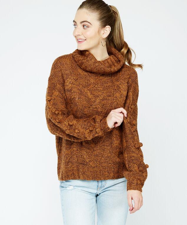 cable knit turtleneck, Brown, hi-res