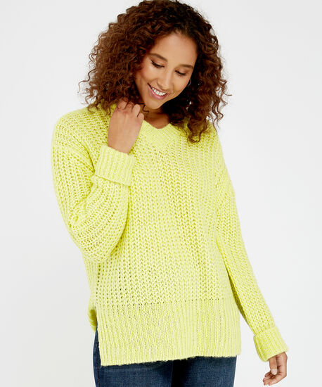 chunky knit sweater - wb, Bright Green, hi-res