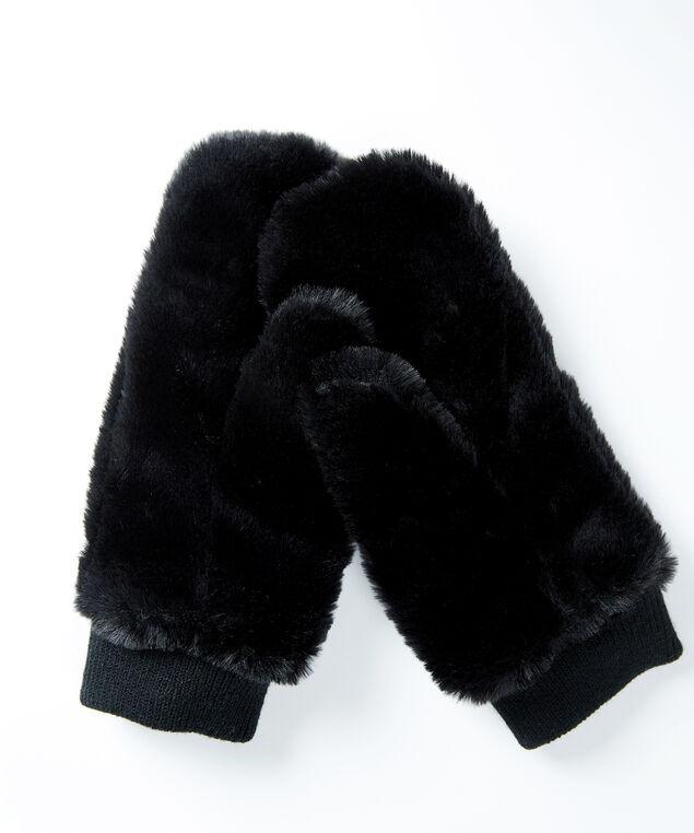 faux fur mitten, Black