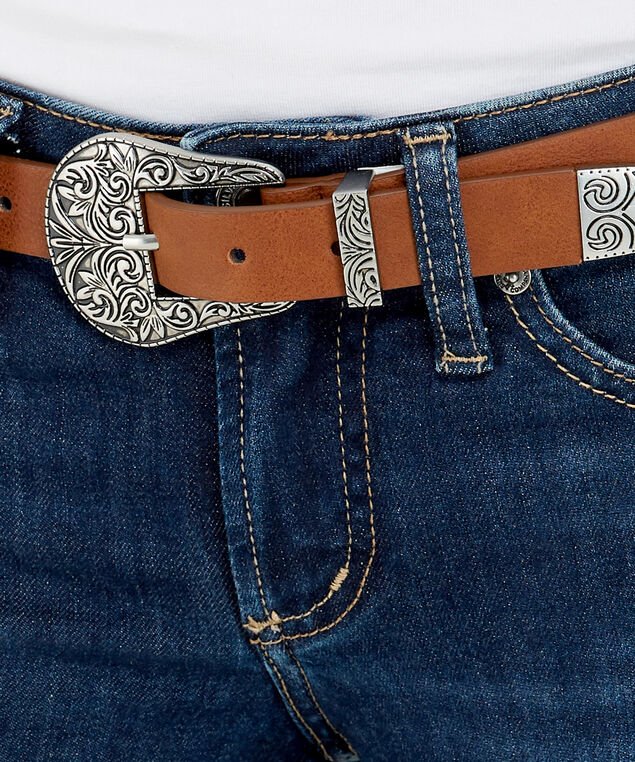 two tone skinny belt, BROWN, hi-res