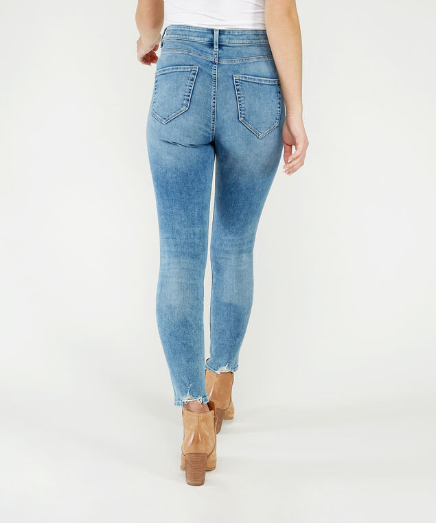 ultra-high rise skinny ankle w/destruction,