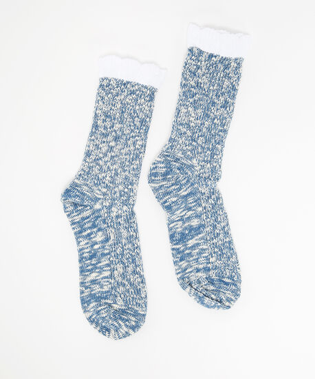 rustic slub sock, DENIM, hi-res