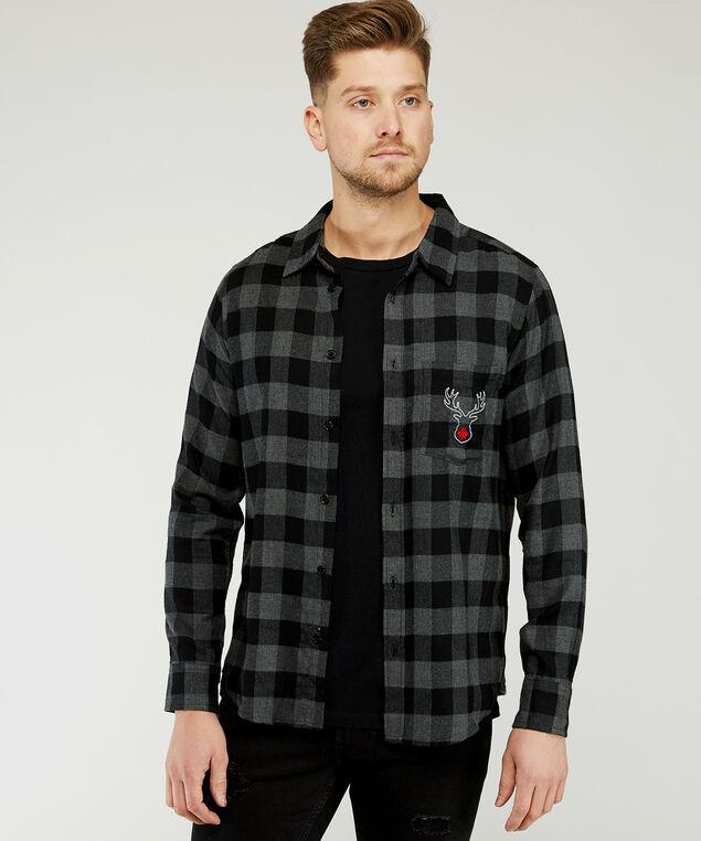 plaid shirt with reindeer embroidery, Grey/Black plaid, hi-res