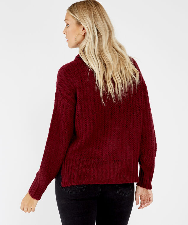 cowl neck pullover - wb, WINE, hi-res