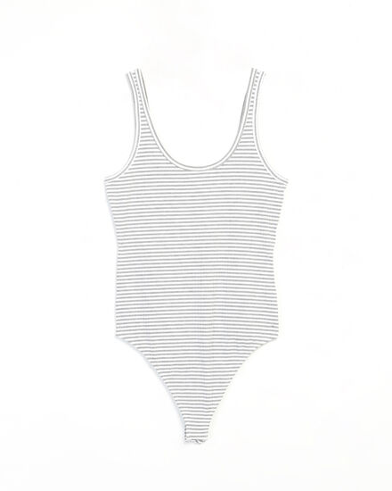 ribbed bodysuit - wb, Grey, hi-res