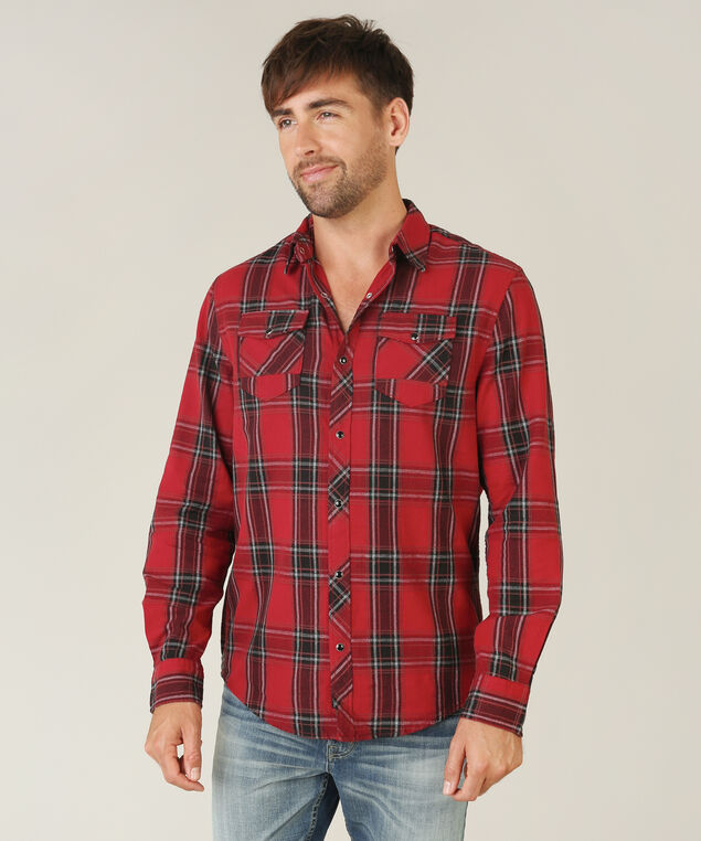 two pocket plaid shirt, AUBURN PLD, hi-res