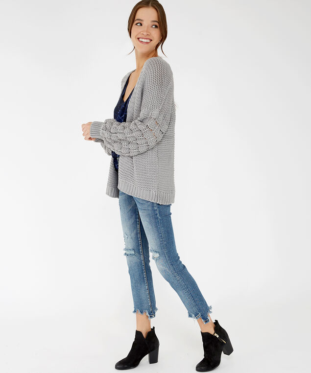 chunky knit cardigan - wb, Grey, hi-res